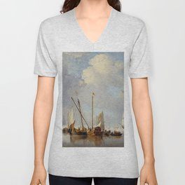 "Willem Van de Velde, the younger ""A Calm"" Unisex V-Neck"