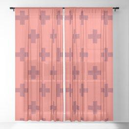 Swiss Cross Retro Red Sheer Curtain