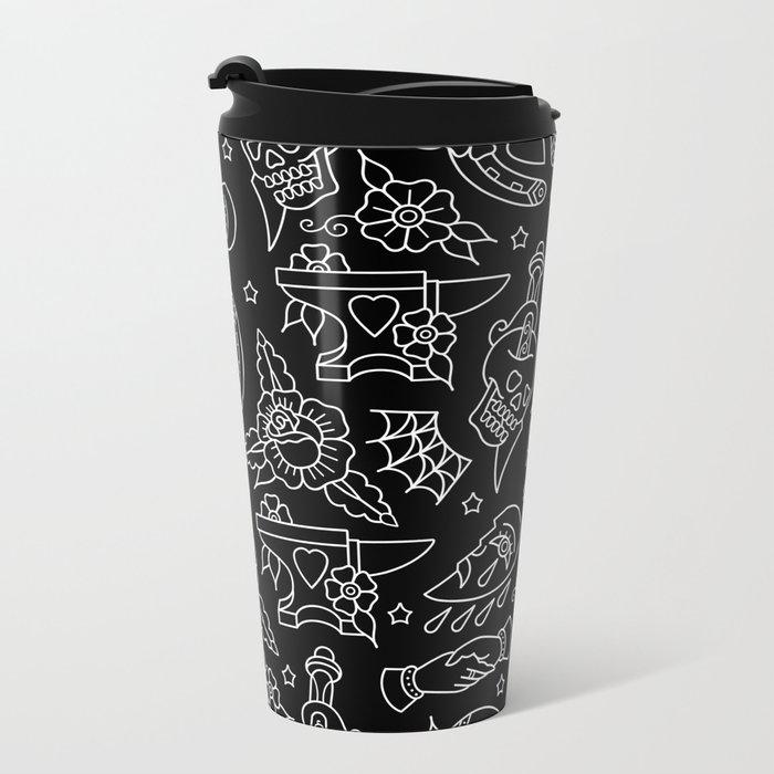 Classic Black Tattoo Pattern  Metal Travel Mug