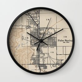 Vintage Map of Palm Springs California (1942) Wall Clock