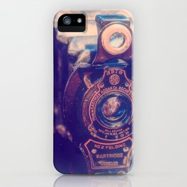 Preserving the Past a digital photograph of a vintage folding camera iPhone Case