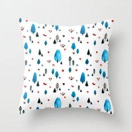 Little Blue Forest Throw Pillow