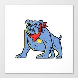 Sheriff Bulldog Standing Guard Mono Line Art Canvas Print
