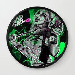 Bad Girl In Green Wall Clock