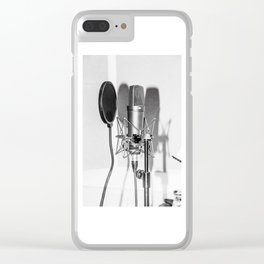 Microphone black and white Clear iPhone Case
