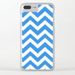 Bleu de France - turquoise color - Zigzag Chevron Pattern Clear iPhone Case