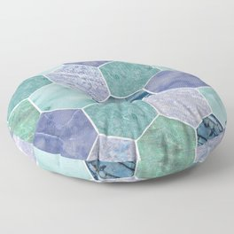 Mixed greens & blues - marble hexagons Floor Pillow