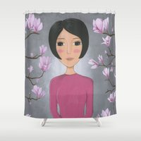magnolia Shower Curtains featuring Magnolia by Jarillo ArtCraft