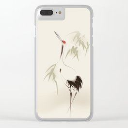 Oriental Red-Crowned Crane 001 Clear iPhone Case