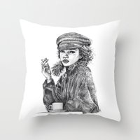 kate moss Throw Pillows featuring Kate Moss by Anja-Catharina