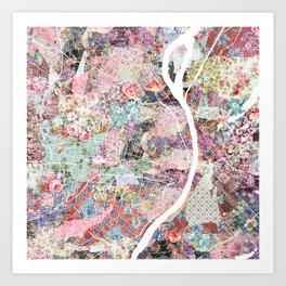Saint Louis map flowers Art Print