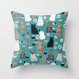 Cat Sushi pattern by pet friendly cute cat gifts for pet lovers foodies kitchen Throw Pillow