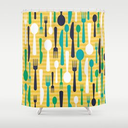 Pattern of spoons, forks and knifes Shower Curtain