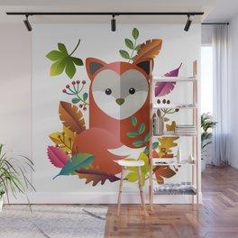 Cute Fox with Autumn Leaves Wall Mural