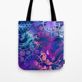 Japanese Stencil Pattern #2 | Flowing Water Waterwheel Basket Weave |Blue & Purple Watercolor Tote Bag