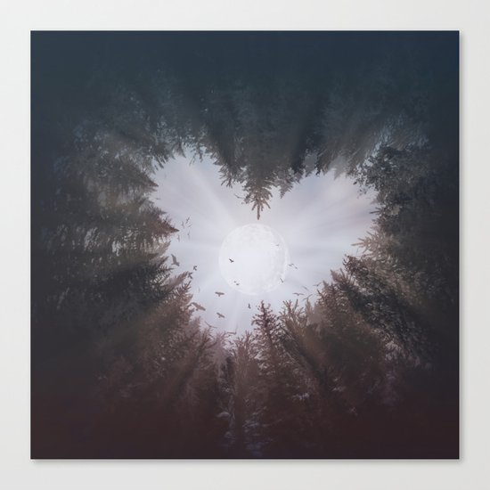 forest nature heart Canvas Print