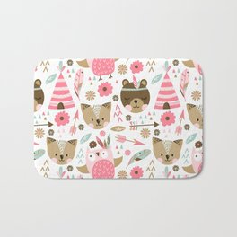 Pink Boho Animals Bath Mat