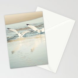 Seagull Beach Photography, Shore Birds Art, Pale Blue Ocean Bird Print, Coastal Photo Stationery Cards