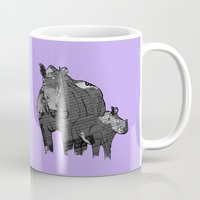 newspaper Mugs featuring Newspaper Rhinoceros by Doolin