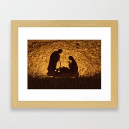 Christmas installation on the theme of the birth of Jesus Christ Framed Art Print