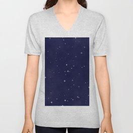 Modern navy blue white starry sky stars pattern Unisex V-Neck