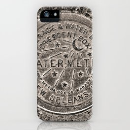 Sepia New Orleans Water Meter Louisiana Crescent City NOLA Water Board Metalwork iPhone Case