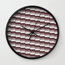 Staggered Oblong Rounded Lines Pattern Pantone Red Pear Wall Clock