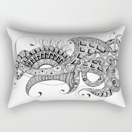 Zentangle art 1, abstract graphic-design, Black and white, ink handdrawing Rectangular Pillow