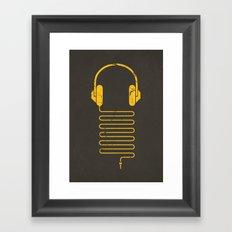Gold Headphones Framed Art Print