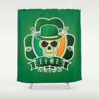 irish Shower Curtains featuring Lucky Irish  skull by mangulica illustrations