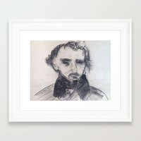 edgar allen poe Framed Art Prints featuring Edgar Allen Poe by Samuel Joshua Elkin
