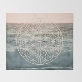 Mandala Flower of Life Sea Throw Blanket