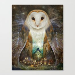 Night Owl Keepers curates Owl, Mountain, Moon Art Print by meluseena at Society 6