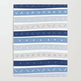 Bowie Blue Stripe Poster