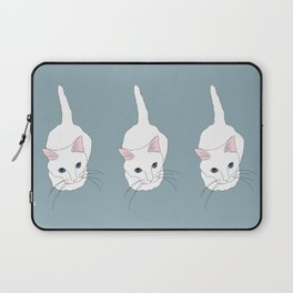 Kitty cat Illustrated Print White Pink Blue Laptop Sleeve