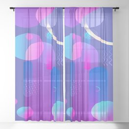 Purple Galaxy Type Abstract Design Sheer Curtain