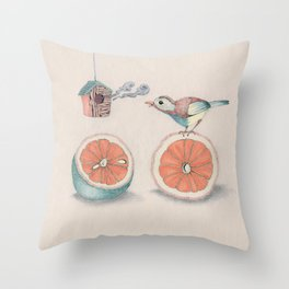 Citrus Bird Throw Pillow