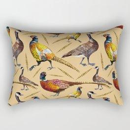 Vintage brown orange colorful pheasant birds pattern Rectangular Pillow