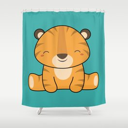 Kawaii Cute Baby Tiger Shower Curtain