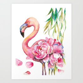 Pink Flamingо with Peony Wings Art Print