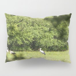 Group of storks feeding Pillow Sham