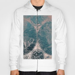 Antique Map Rose Gold Navy Blue Hoody