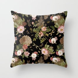 Vintage & Shabby Chic - Midnight Botanical Flower Roses Garden  Throw Pillow