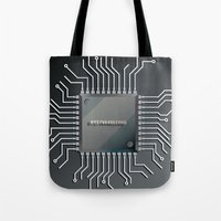 computer Tote Bags featuring Computer Chip by Robin Curtiss