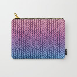 Chunky Knit Pattern in Pink, Blue & Purple Carry-All Pouch