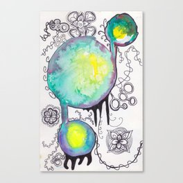 Childhood Series: Watercolor and Pen Circles and Designs Canvas Print