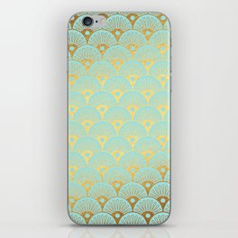 Art Deco Mermaid Scales Pattern on aqua turquoise with Gold foil effect iPhone Skin