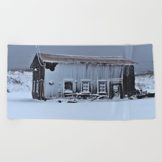 Snow Caked Barn Beach Towel