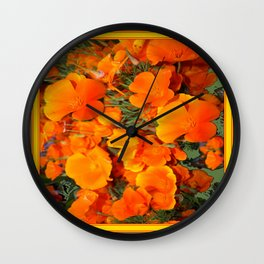 Sage Green Art Golden California Poppies Design Wall Clock