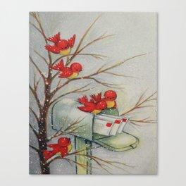 Vintage Christmas Birds Canvas Print